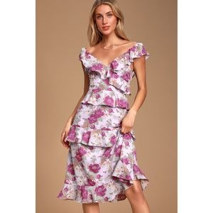 Lavender Floral Print Ruffled Midi Dress